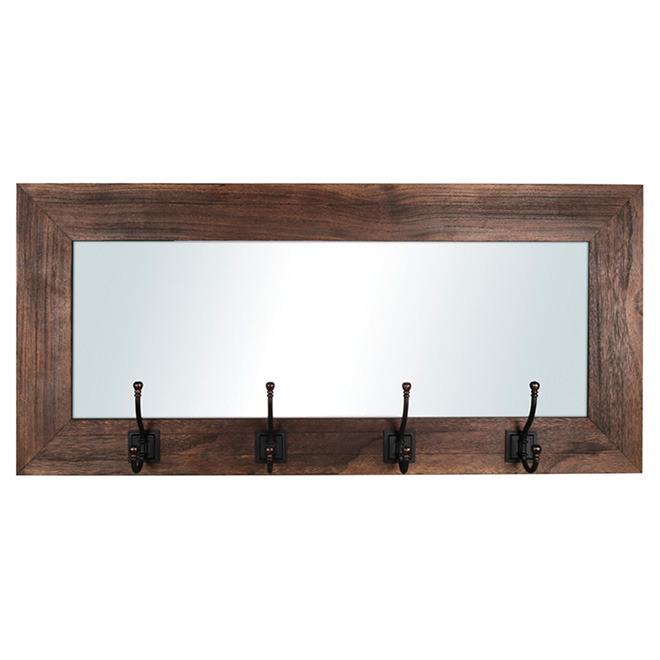 Entrance Mirror with 4 Hooks - Recycled Wood
