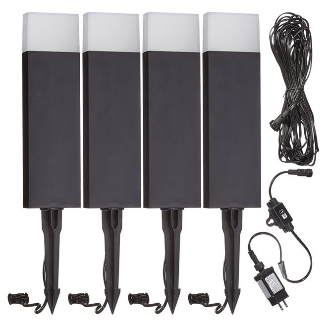 LED Low Voltage Garden Lights   4 LED   Black   6 Pieces