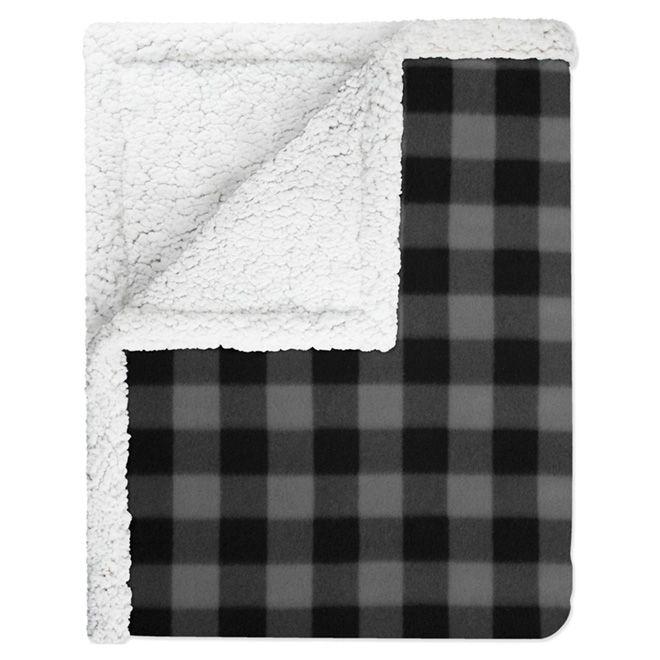 "Grey and Black Polyester Throw - 50"" x 60"""