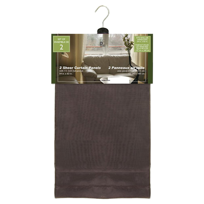 "Sheer Rod Pocket Curtain - 54"" x 86"" - 2-Pack"