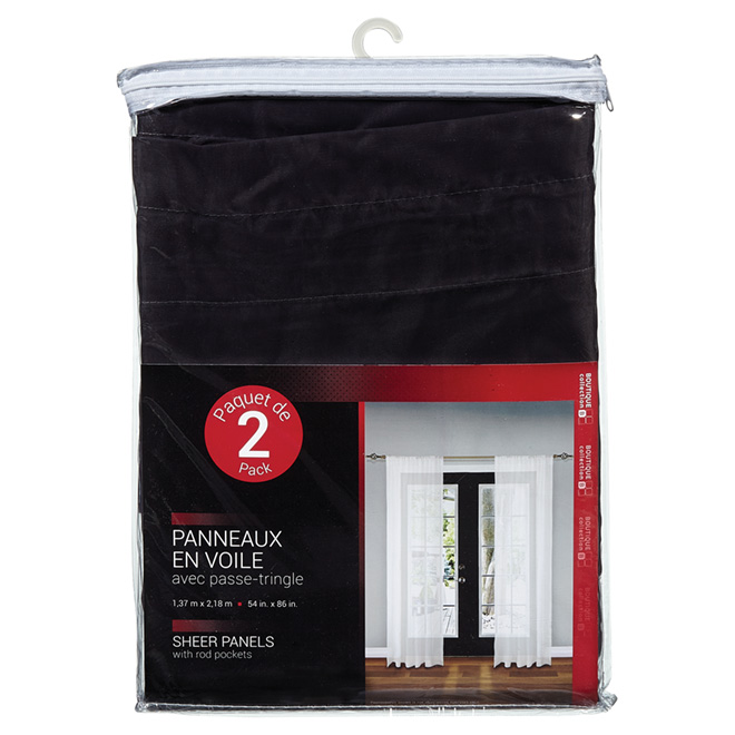 Sheer Curtain Panels - Charcoal - Pack of 2