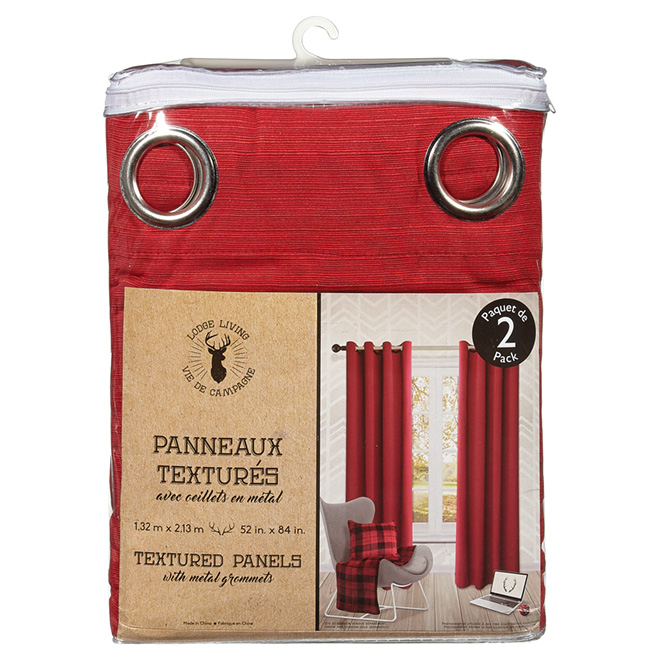 Polyester Curtains - Otto - Red - 2 Panels