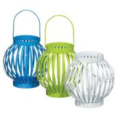Candle Lantern Set - White/Blue/Green - 3 Pieces