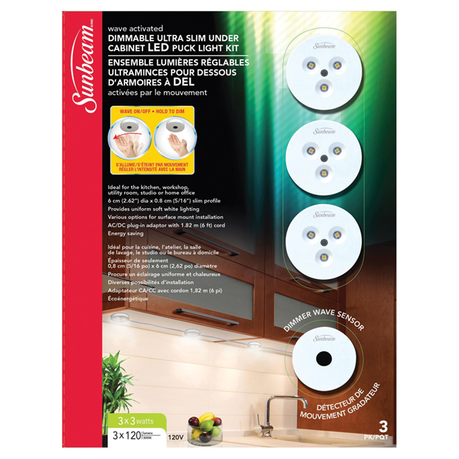 LED Dimmable Under-Cabinet Puck Light Kit - 3 Pack