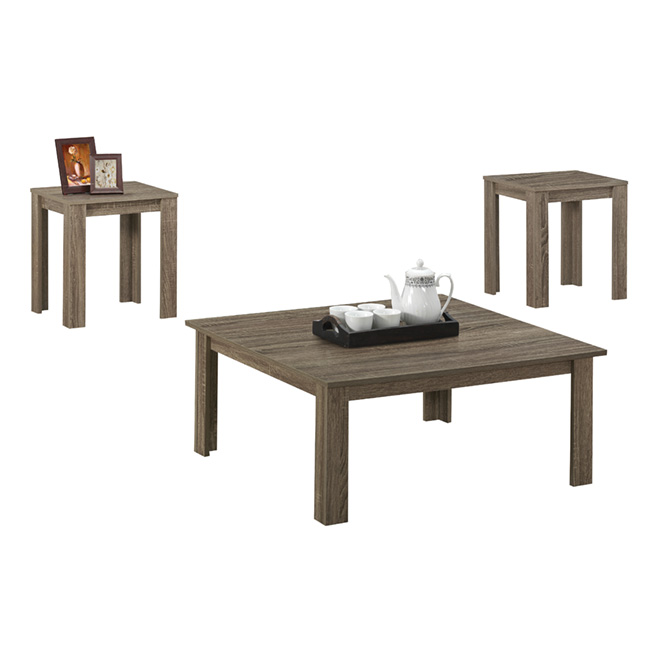 Coffee Table with End Tables Set - Dark Taupe