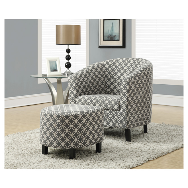 Accent Chair with Ottoman - Grey Circular Print