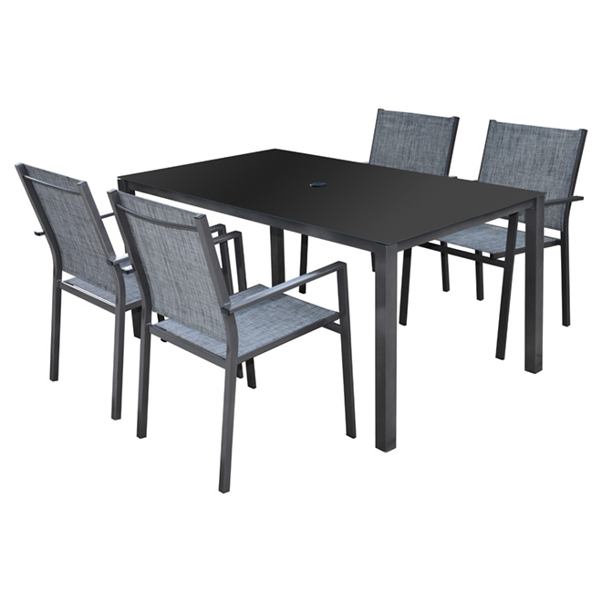 """Manhattan"" Patio Dining Set - Grey - 5 Pieces"
