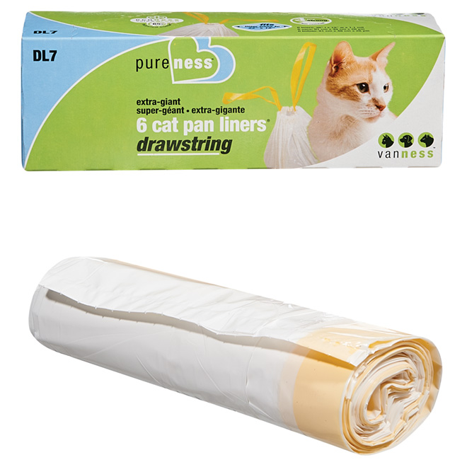 Extra Large Drawstring Cat Pan Liners - 6-Pack