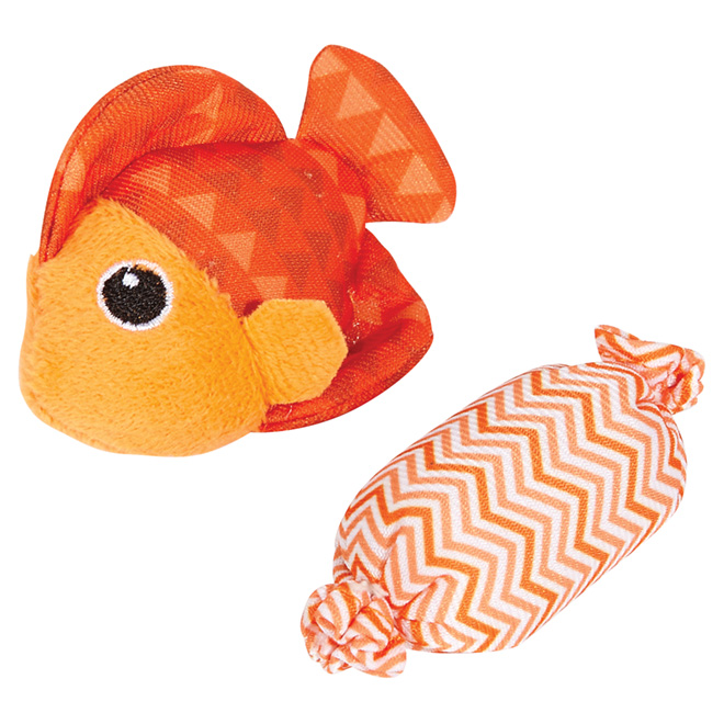 Plush Cat Toy with Catnip - Fish and Candy