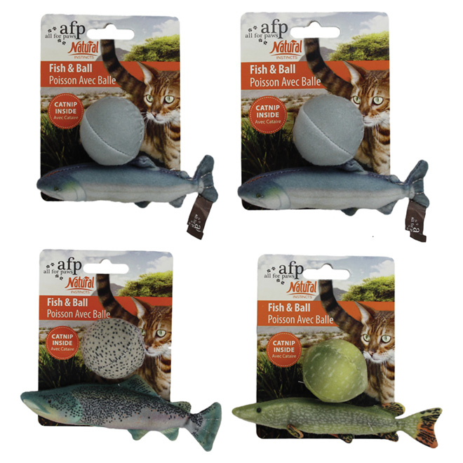 Plush Cat Toy with Catnip - Fish and Ball