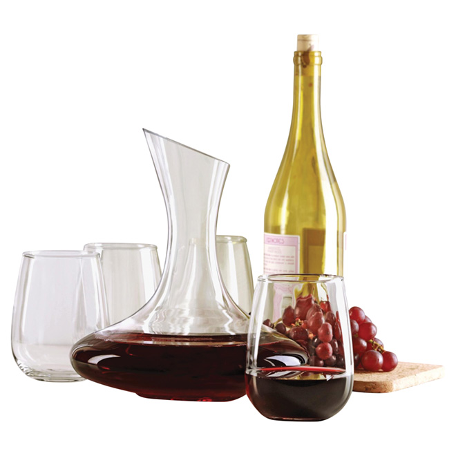 Decanter and 4 Wine Glasses Set