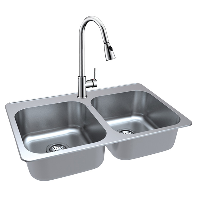 Superior Double Kitchen Sink With Faucet   Stainless Steel Part 21