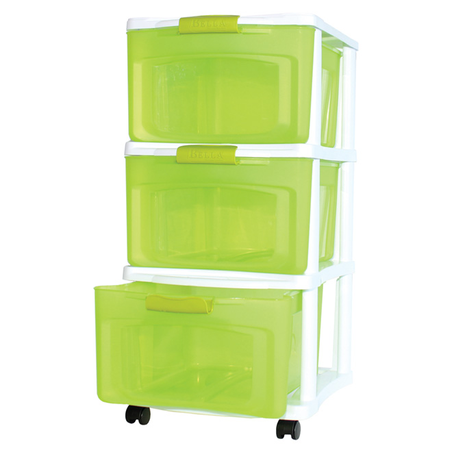 Stackable Storage Drawer - Medium - White/Green