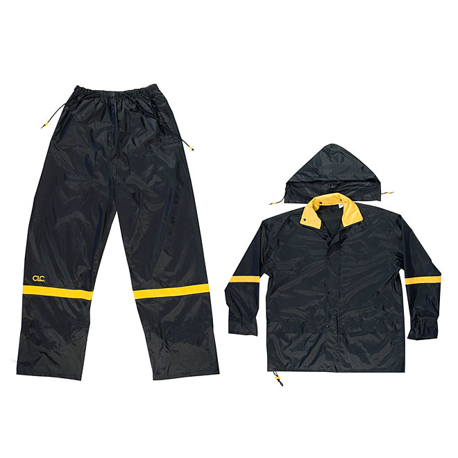 3 Pieces Black Nylon Rain Suit