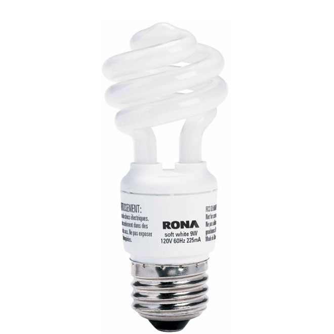 "9-W ""Ultra Mini"" CFL Spiral Lightbulb"