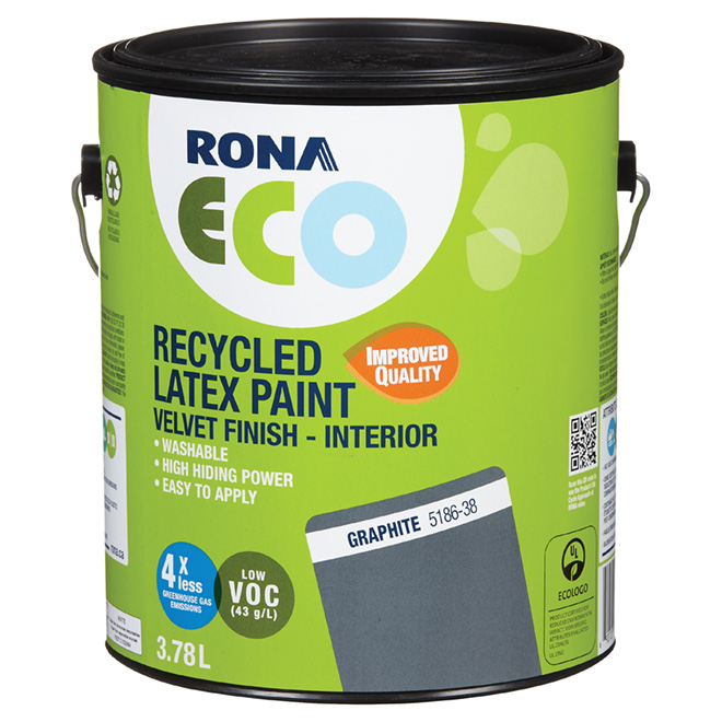 Recycled Latex Paint - Velvet Finish - Graphite - 3.78 L