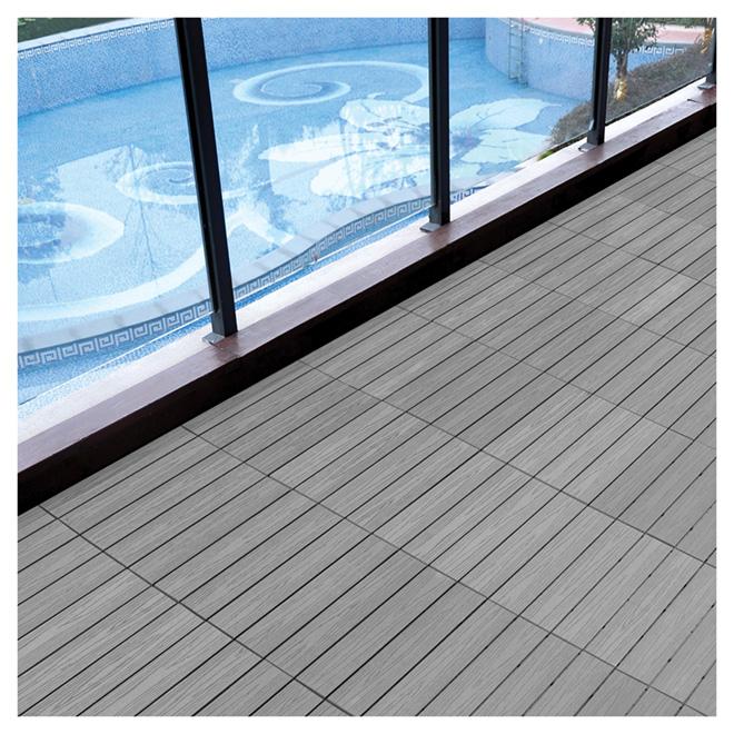 tuile patio composite 12 x 12 39 39 gris bo te de 10 rona. Black Bedroom Furniture Sets. Home Design Ideas