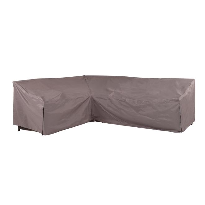 Housse pour canap d 39 angle de patio polyester gris rona for Housse pour canape d angle