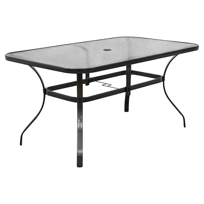 Patio dining table rectangle tempered glass 59 x 35 for Glass top patio dining table
