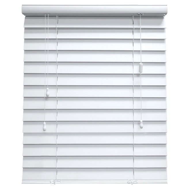"Horizontal Faux Wood Blind - White - 18"" x 48"""