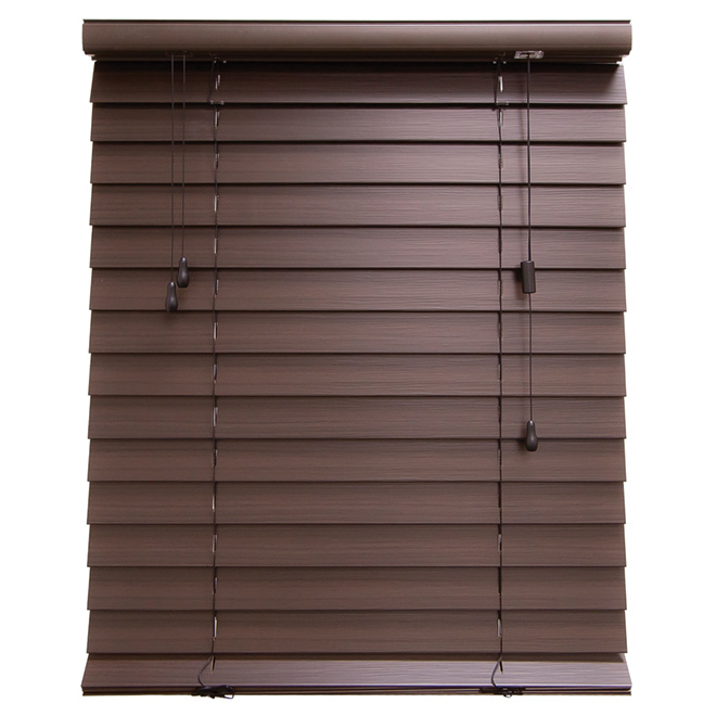 "Horizontal Faux Wood Blind - Espresso - 72"" x 48"""