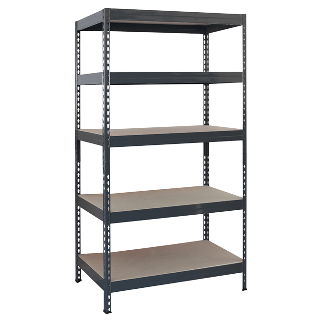 "5-Tier Shelving Unit - 14 x 34 x 70"" - Dark Grey Metal"