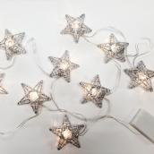 Battery-Operated Light Set - 10 Lights - Stars - Silver