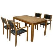 Patio Dining Set - Sao Paulo - Wood/Black - 5 Pieces