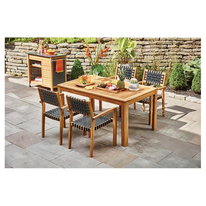 patio dining set sao paulo wood black 5 pieces rona