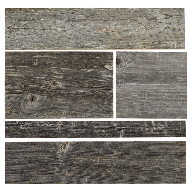 Wood panel real barn wood 2 to 10 grey rona Revetement mural autocollant