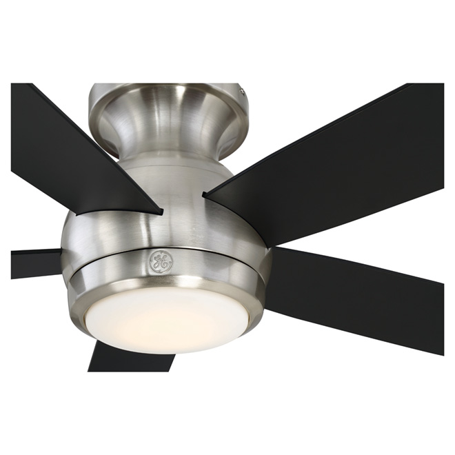 ventilateur de plafond 5 pales 52 del 18 w nickel rona. Black Bedroom Furniture Sets. Home Design Ideas