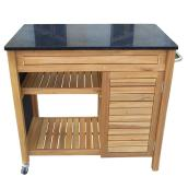Patio Kitchen Cart - Sao Paulo - Acacia/Black