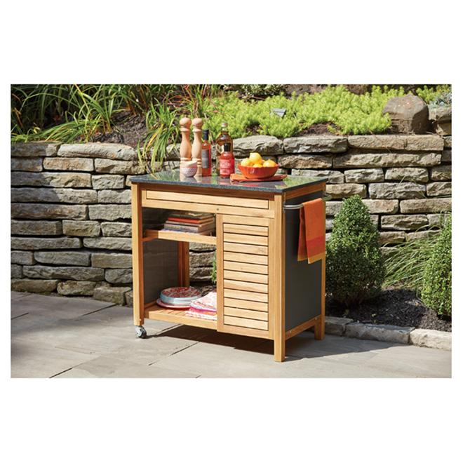 chariot de cuisine pour patio sao paulo acacia noir rona. Black Bedroom Furniture Sets. Home Design Ideas