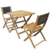 Acacia Wood Bistro Set - Sao Paulo - Natural - 2 Places