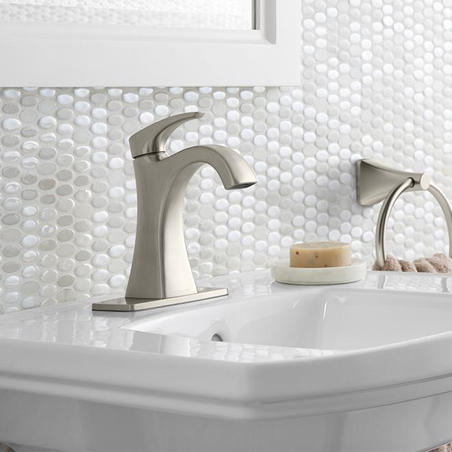 robinet salle de bain maxton 1 poign e nickel bross rona. Black Bedroom Furniture Sets. Home Design Ideas