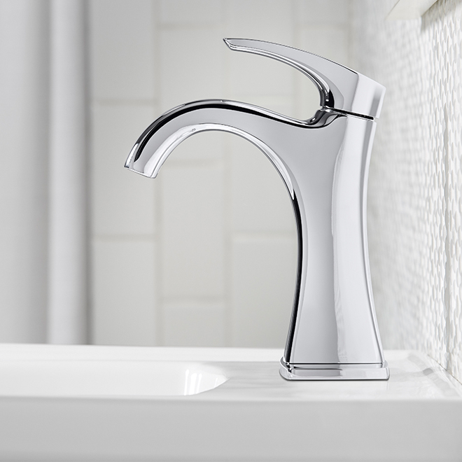 Robinet de salle de bain maxton 1 poign e chrome poli rona for Robinet salle de bain rona