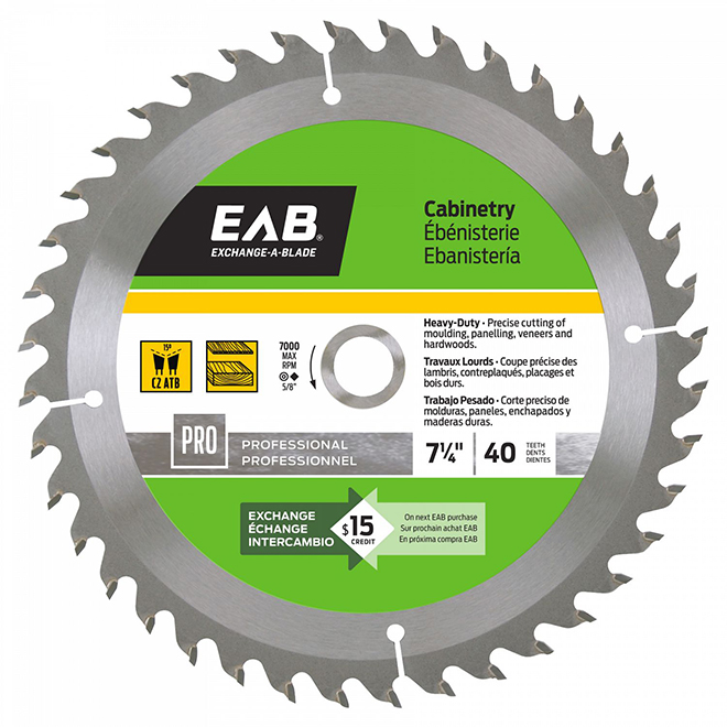 "Cabinetry Circular Saw Carbide Blade - 7"" - 40TH"