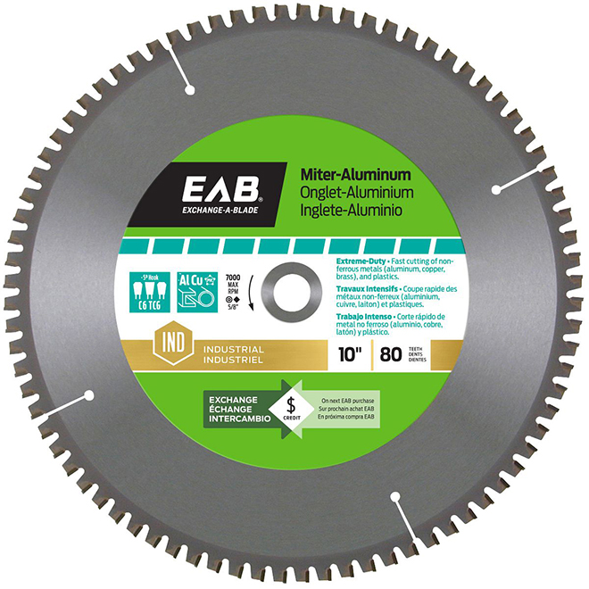 "Miter Saw Blade - 80-tooth - 10"" - Steel/Carbide"