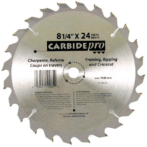 """Carbide Pro"" Framing/Ripping Blade - 8 1/4""- 24TH"