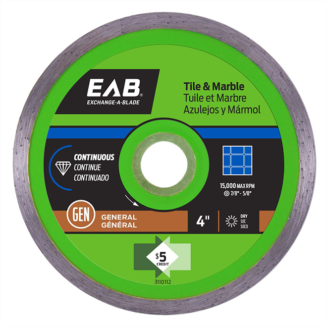 """Green Series"" Continuous Diamond Blade - 4"""