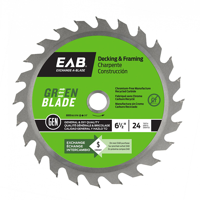 """Green Blade"" Framing Carbide Blade- 6 1/2"" - 24TH"