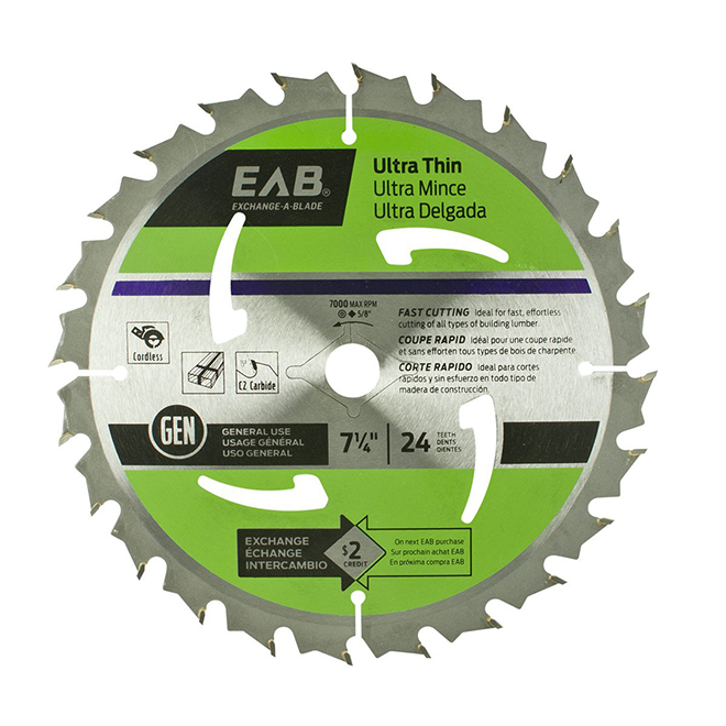 """Ultra-Thin"" Saw Carbide Blade - 7 1/4"" - 24TH"