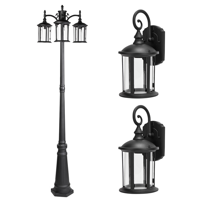 Outdoor post and lanterns set 3 pieces rona for Fixture exterieur