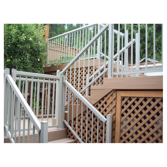 Exterior Top and Bottom Railings 6' - White