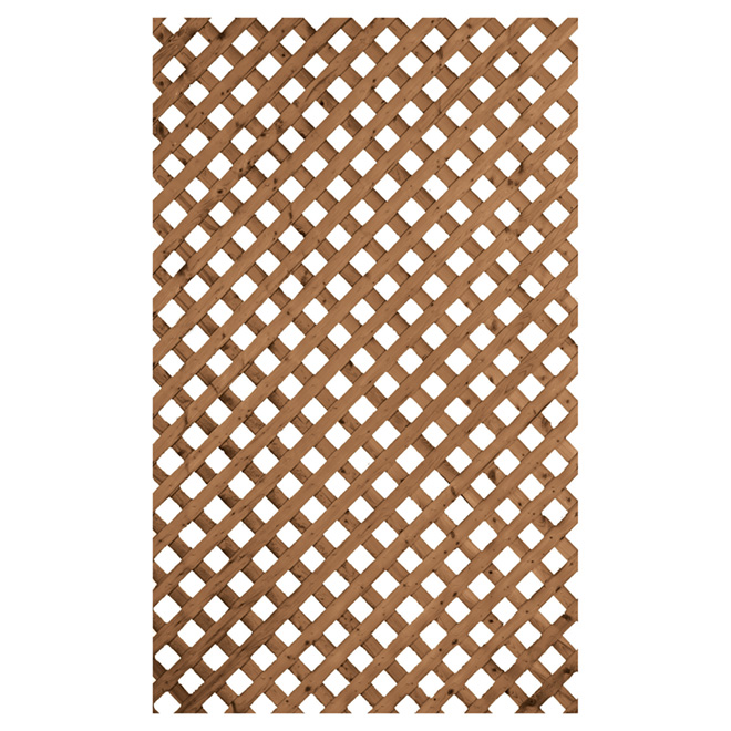Privacy Treated Wood Lattice - Brown - 4' x 8'