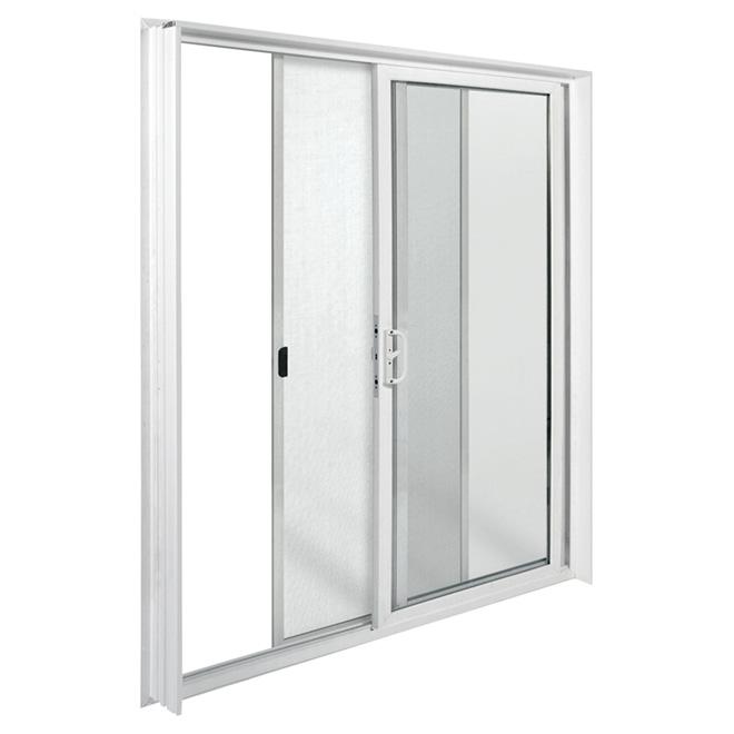 Porte fen tre coulissante en vinyle 72 x 80 blanc for Porte patio rona