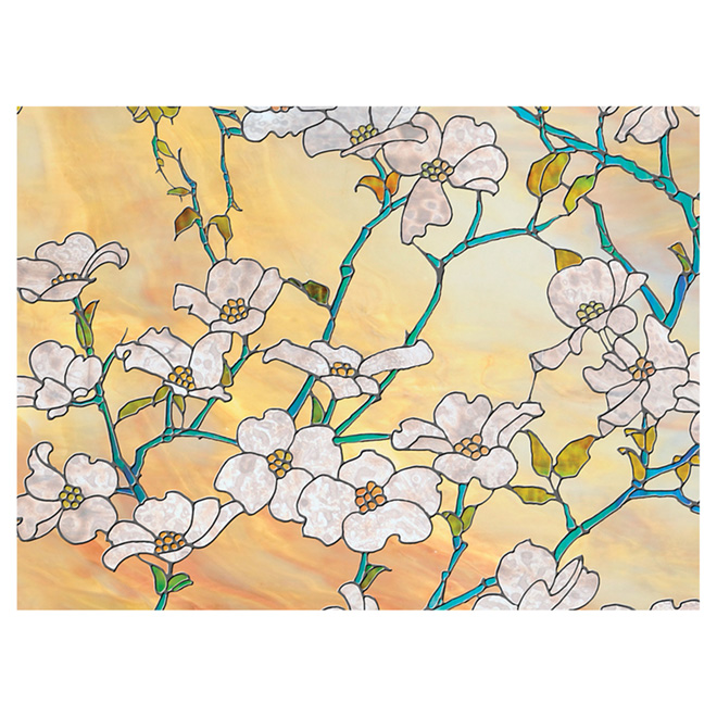 "Static-Cling Window Film - Dogwood - 24"" x 47""- Gold/Green"