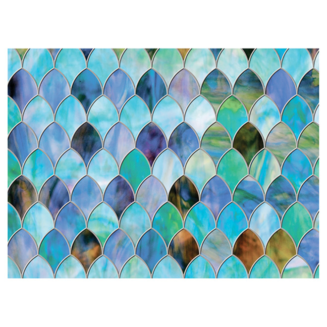 "Window Film - Peacock - 24"" x 47"" - Blue/Green"