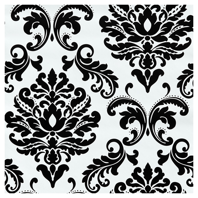 papier peint motif damass 20 5 x 18 39 noir blanc rona. Black Bedroom Furniture Sets. Home Design Ideas
