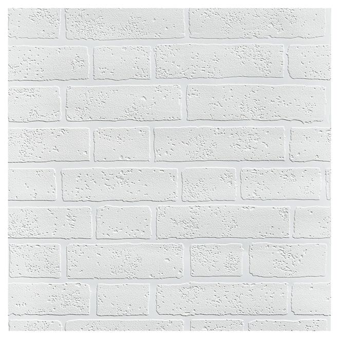 papier peint peindre briques 20 5 x 33 39 blanc rona. Black Bedroom Furniture Sets. Home Design Ideas